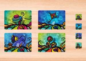 Kit de 4 individuales y 4 portavasos de tela. Juegos de El Salvador.
